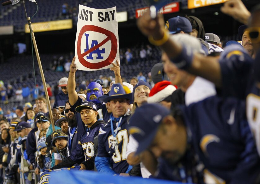 Chargers fans let their feelings be known during a 30-14 win over Miami at Qualcomm Stadium.