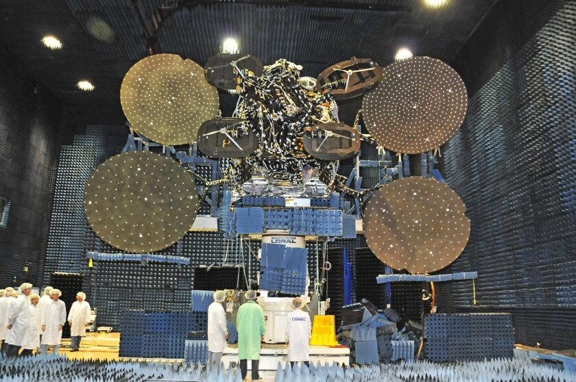 ViaSat-1 while it was under construction at Space Systems Loral in 2011. Carlsbad-based ViaSat won a $283 million patent and breach of contract lawsuit against SSL in April, but now a judge has ordered a new trial on damages.