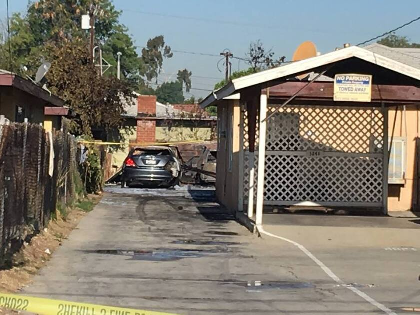 Three fires damaged as many as 15 vehicles and multiple structures in Rosemead early Tuesday.