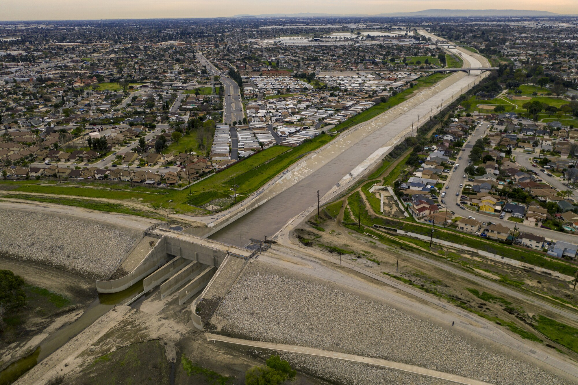 An aerial view of the Whittier Narrows Dam in the area between Montebello and Pico Rivera in Montebello