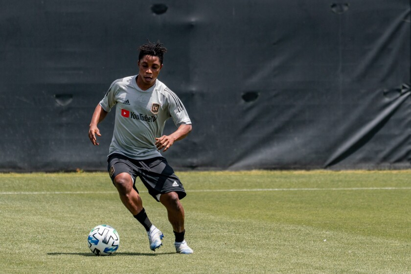 LAFC forward/midfielder Latif Blessing takes part in a training session on Thursday.