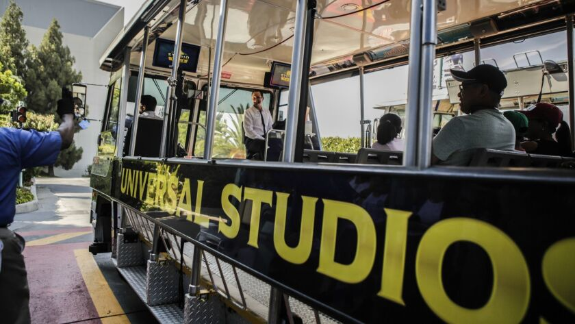 LOS ANGELES, CA -- WEDNESDAY, AUGUST 1, 2018-- Chris Maul works as a tour guide at the Universal St