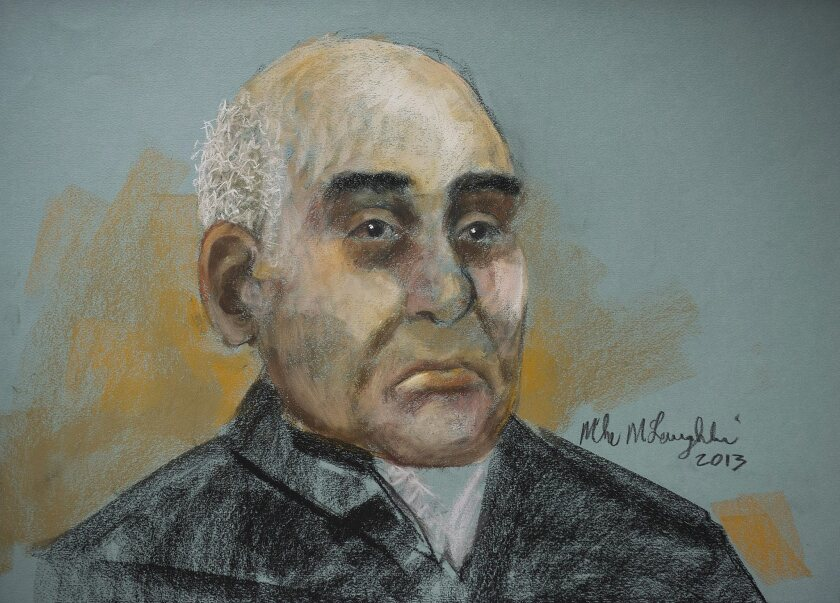 A courtroom artist's sketch shows 71-year-old Antony Piazza, an Iranian emigre who changed his name after a drug-trafficking charge and prison sentence, during a court appearance in Montreal on Monday. He has been charged with attempting to bring bomb components on board a Los Angeles-bound plane Sunday and endangering an aircraft and air travelers.