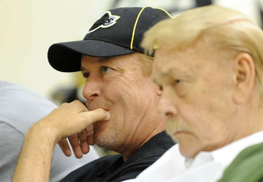 Jim and Jerry Buss. Jim Buss blamed injuries as the primary reason for the Lakers' struggles.