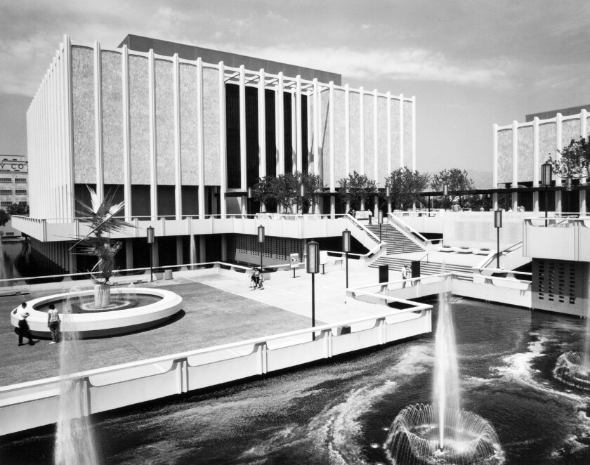 """Norbert Kricke's """"Space Sculpture,"""" far left, greeted LACMA visitors on the entry plaza in 1965."""