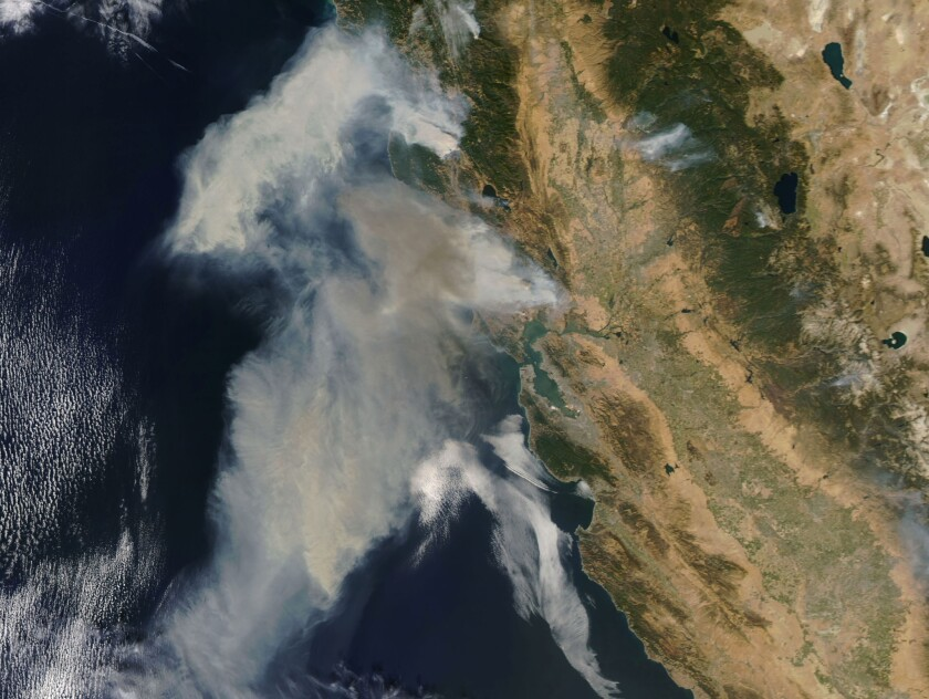 Fires in northern California seen from space, -, USA - 09 Oct 2017