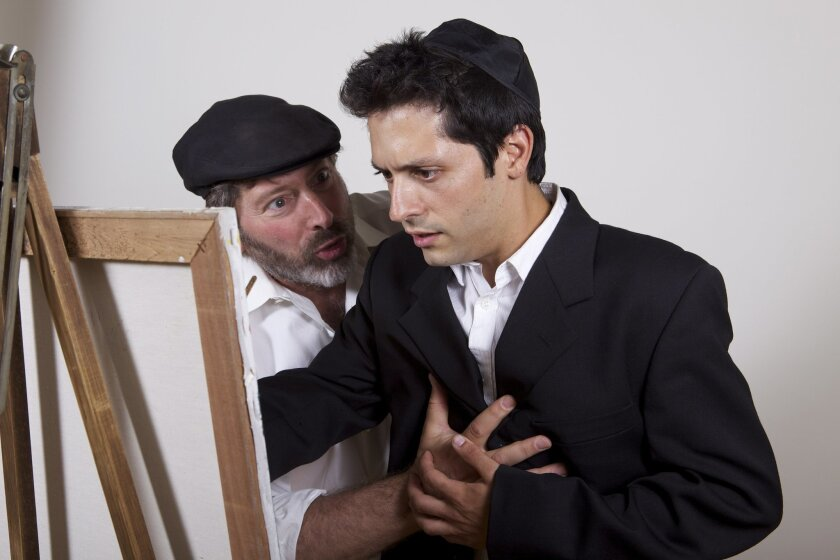 "David Ellenstein (left) and Craig De Lorenzo in ""My Name is Asher Lev"" at North Coast Repertory Theatre."
