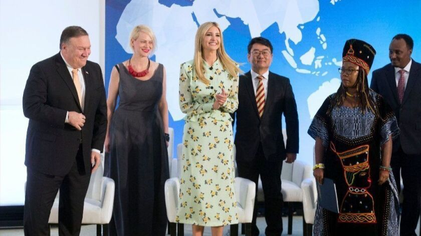 Secretary of State Michael R. Pompeo and Ivanka Trump join in recognizing recipients of the 2018 Trafficking in Persons Report Hero Award during a ceremony at the State Department on Thursday.