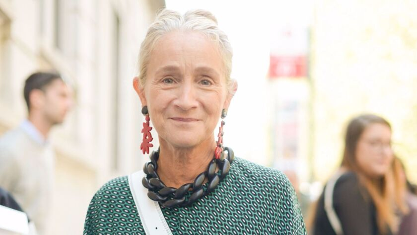 Lucinda Chambers at spring/summer 2017 Milan Fashion Week in Italy on Sept. 26, 2016.