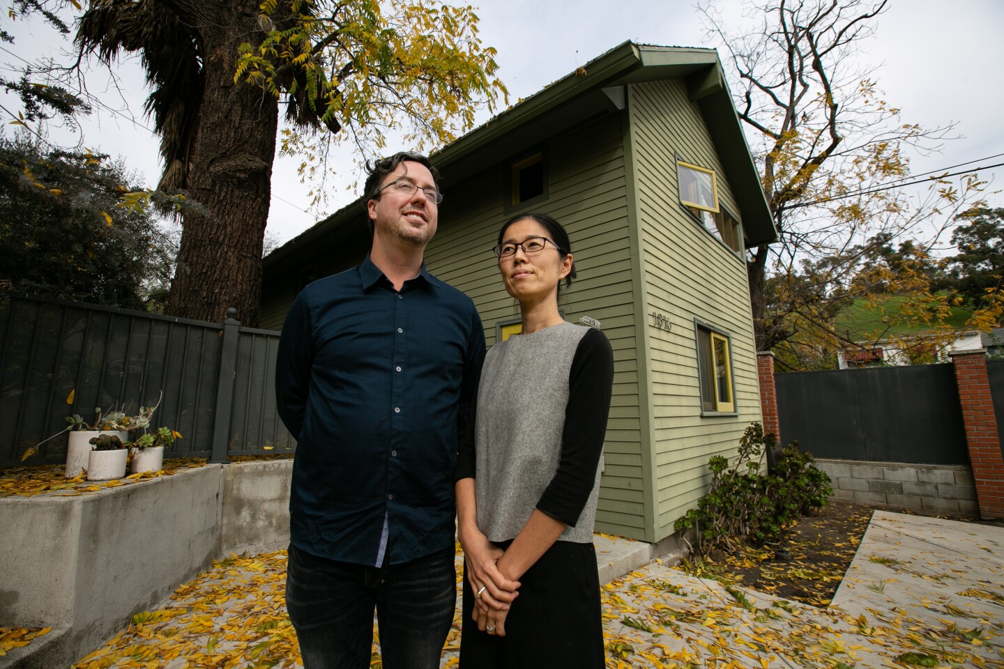 Bo Sundius, 44, and Hisako Ichiki, 44, owners of Bunch Design, a L.A. based husband and wife design firm,  shows one of their Accessory Dwelling Units (ADU's) on Tuesday, December 10, 2019.