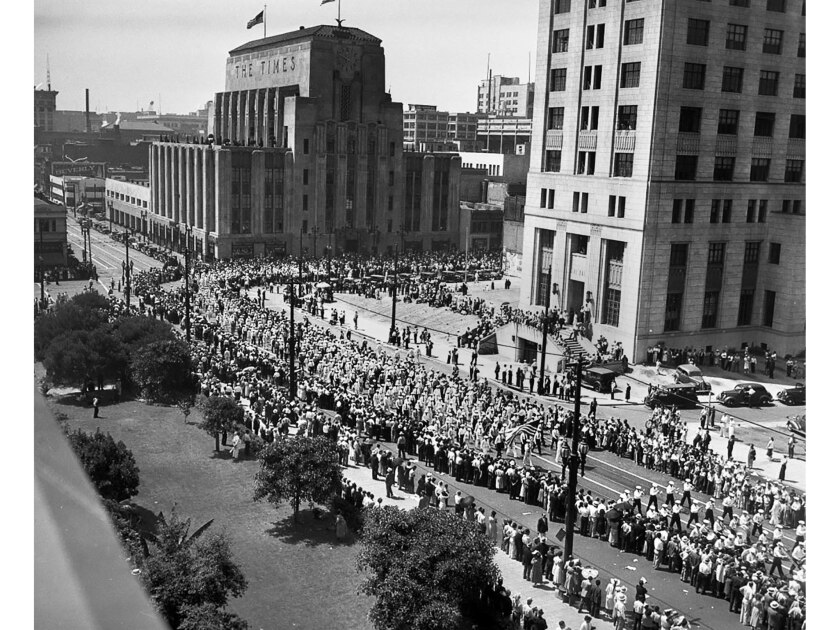 Sept. 6, 1937: About 50,000 Los Angeles area workers march in the annual Labor Day parade on Spring Street in a photo taken from Los Angeles City Hall.