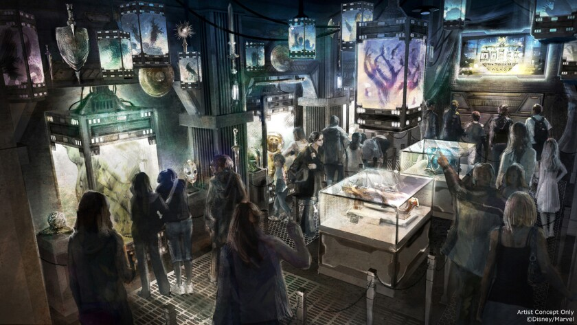 """Concept art of a space age fortress housing alien creatures in a museum-like setting for the """"Guardians of the Galaxy"""" attraction coming to Disney California Adventure."""
