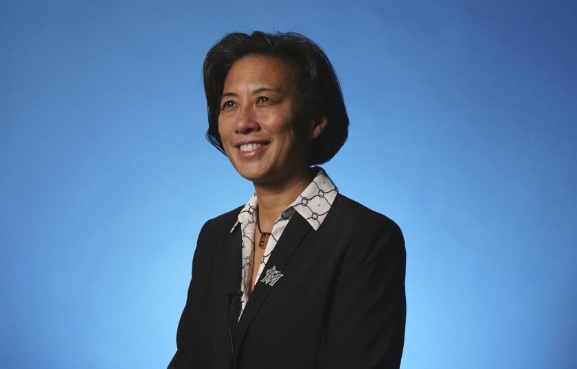 La nueva gerente general del equipo, Kim Ng, el lunes 16 de noviembre de 2020, en Miami.