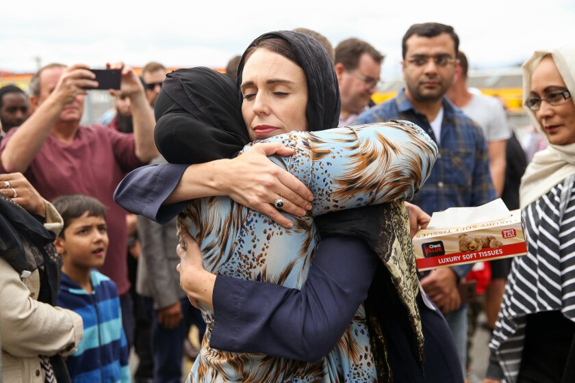 Prime Minister Ardern Lays Wreath And Visits With Islamic Community Leaders At Kilbirnie Mosque