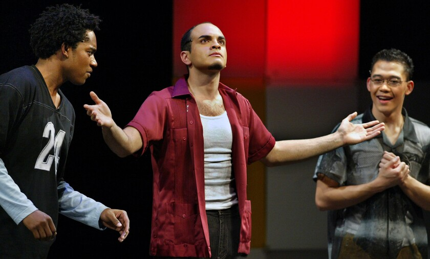 """From left, Miles Ellington Gregley, Rafael Agustin and Allan Axibal perform """"N*gger Wetb*ck Ch*nk"""" at the UCLA Freud Playhouse in 2004."""