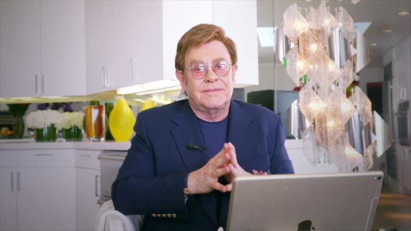 Elton John hosted a virtual coronavirus benefit concert broadcast Sunday night on Fox.