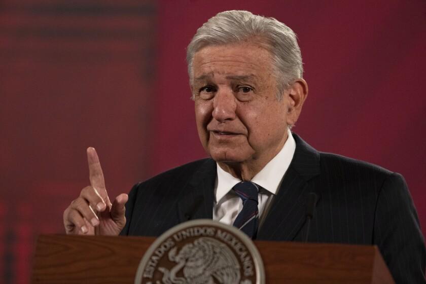 El presidente mexicano Andrés Manuel López Obrador en el Palacio Nacional en Ciudad de México