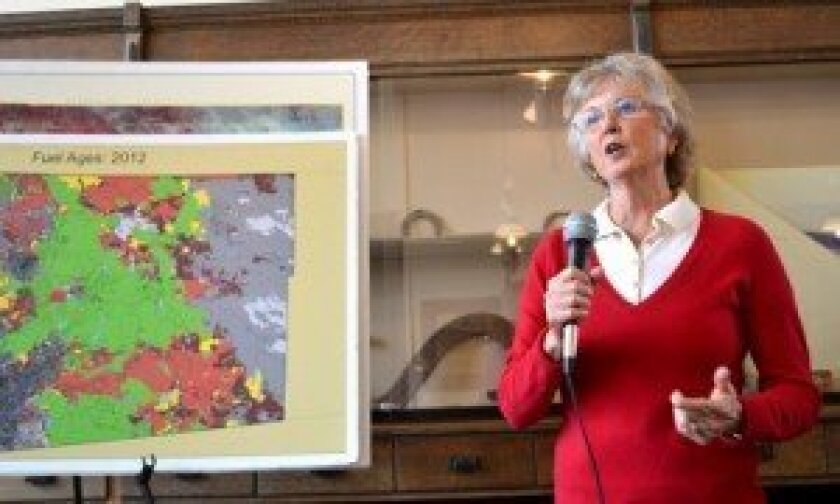 Supervisor Dianne Jacob displays a map of high risk fire areas in the county,  seen in red, during her Feb. 27 meeting with constituents. Sentinel photo/Karen Brainard