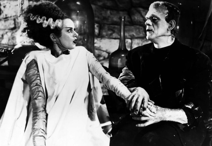"""Elsa Lanchester and Boris Karloff costar in 1935's """"Bride of Frankenstein,"""" screening as part of a double feature at the Aero Theatre in Santa Monica."""