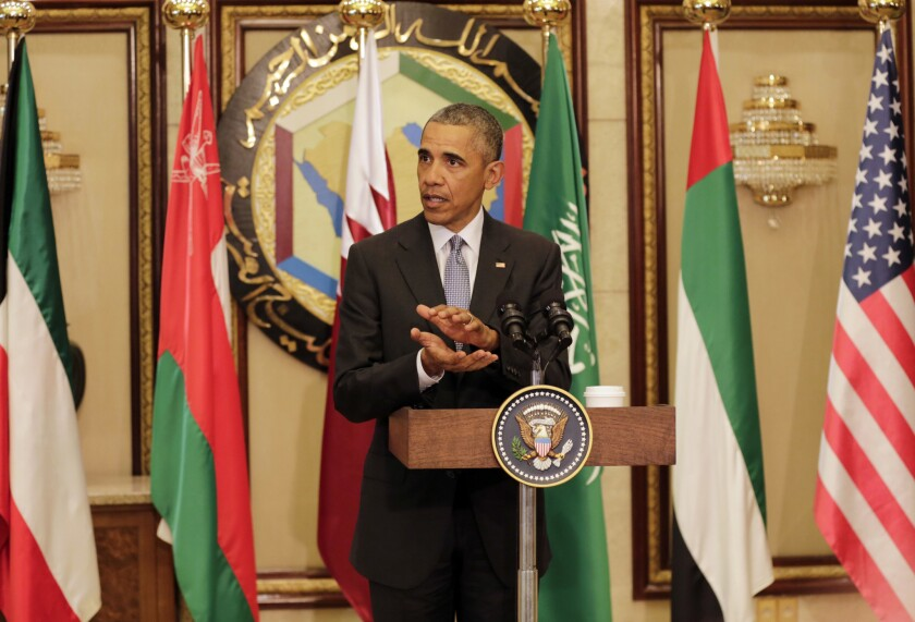 President Obama speaks at a news conference during a trip to Riyadh, Saudi Arabia, last month after meeting with Saudi King Salman and other Arab heads of state.