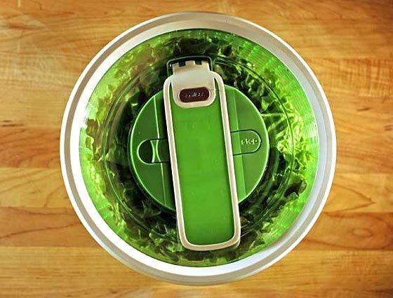 Salad spinners are listed in order of preference. Some models may be available at retailers in addition to those listed. Internet prices do not include shipping. Green machine The large Zyliss Smart Touch spinner easily handles 10 cups of lettuce leaves. There's a lever-activated mechanism that you push up and down. For storage, this lever is held flat by the lock button. What's the difference: This spinner comes in small (two to three servings) and large (four to six servings) sizes. It's available in white, but looks much cooler in bright lime green. What we thought: Did a great job of quickly drying lots of lettuce. The big bowl makes a nice serving piece. How much: About $30 at Sur La Table stores and $25 at cookingtoys.com.