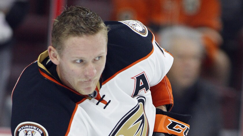 Ducks forward Corey Perry warms up before a game against the Philadelphia Flyers on Oct. 14.