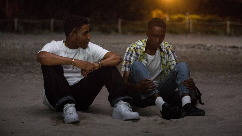 "Jharrel Jerome, left, and Ashton Sanders in ""Moonlight"" in a scene on a Miami Beach."