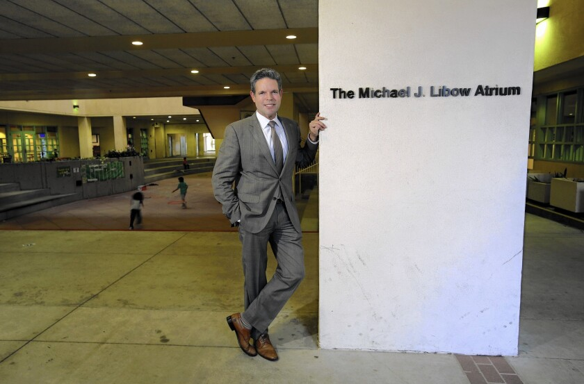 Real estate agent Michael J. Libow paid $21,750 to have the atrium at Beverly Vista Elementary named after him.