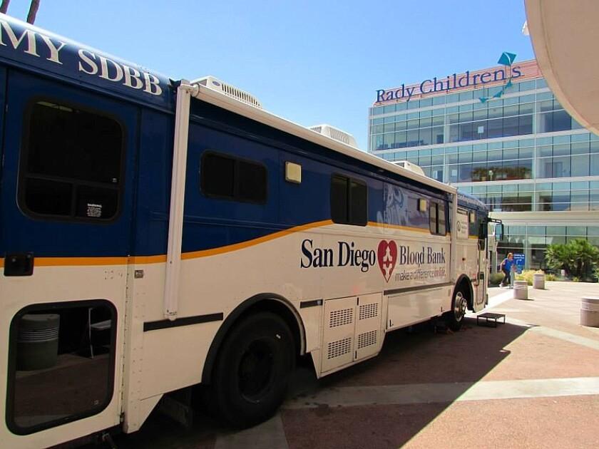 San Diego Blood Bank blood mobile.