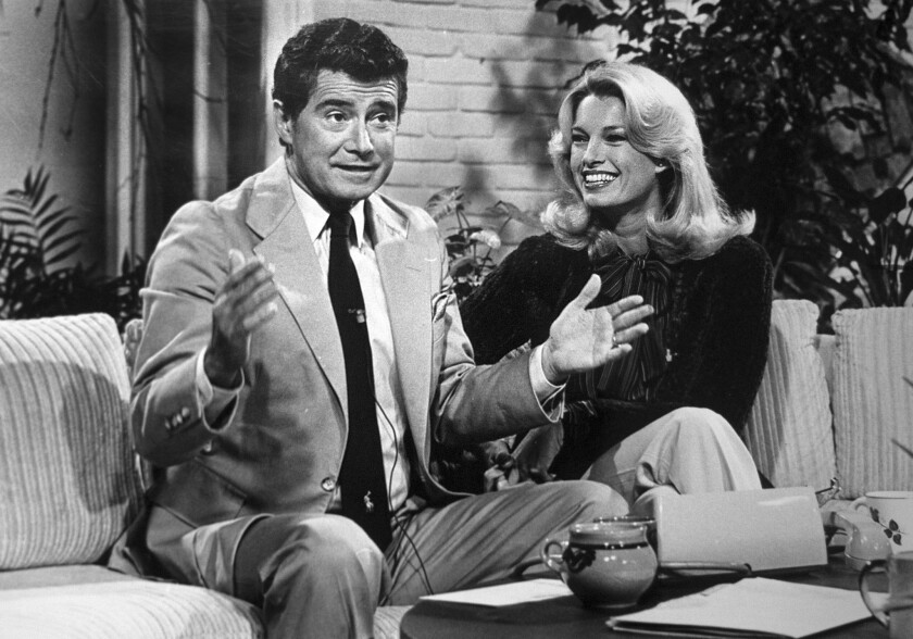 "Regis Philbin and Cyndy Garvey cohost ""A.M. Los Angeles"" in 1979."