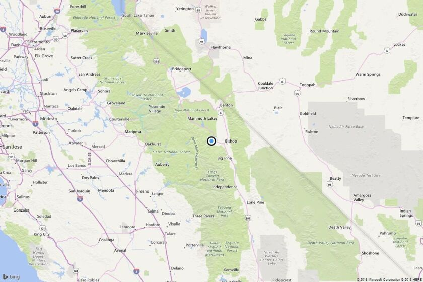 A map shows the approximate location of the epicenter of Wednesday morning's quake near Rovana, Calif.