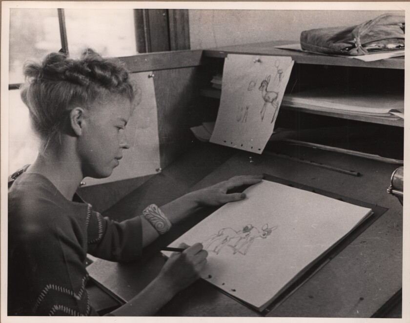"Artist Retta Scott working on ""Bambi,"" featured in ""The Queens of Animation."""