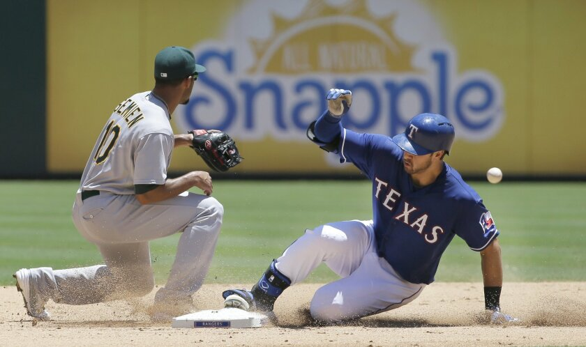 Texas Rangers' Joey Gallo, right, slides in safely with a double as Oakland Athletics shortstop Marcus Semien (10) waits for the throw during the fourth inning of a baseball game in Arlington, Texas, Thursday, June 25, 2015. (AP Photo/LM Otero)