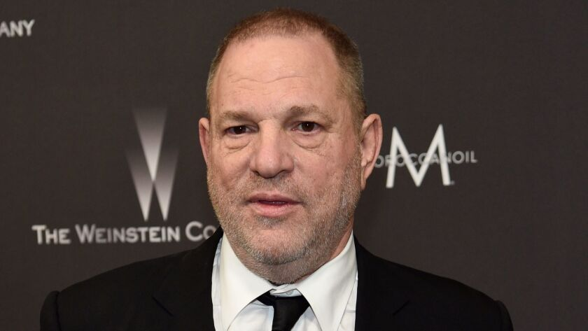 Harvey Weinstein arrives at the Weinstein Co. and Netflix Golden Globes afterparty in Beverly Hills on Jan. 8.
