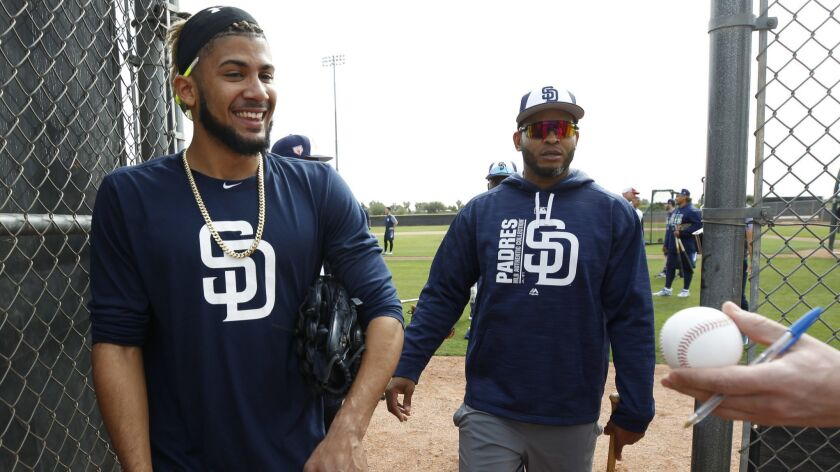 PEORIA, February 13, 2019 | A fan requests an autograph from the Padres' infielder Fernando Tatis Jr