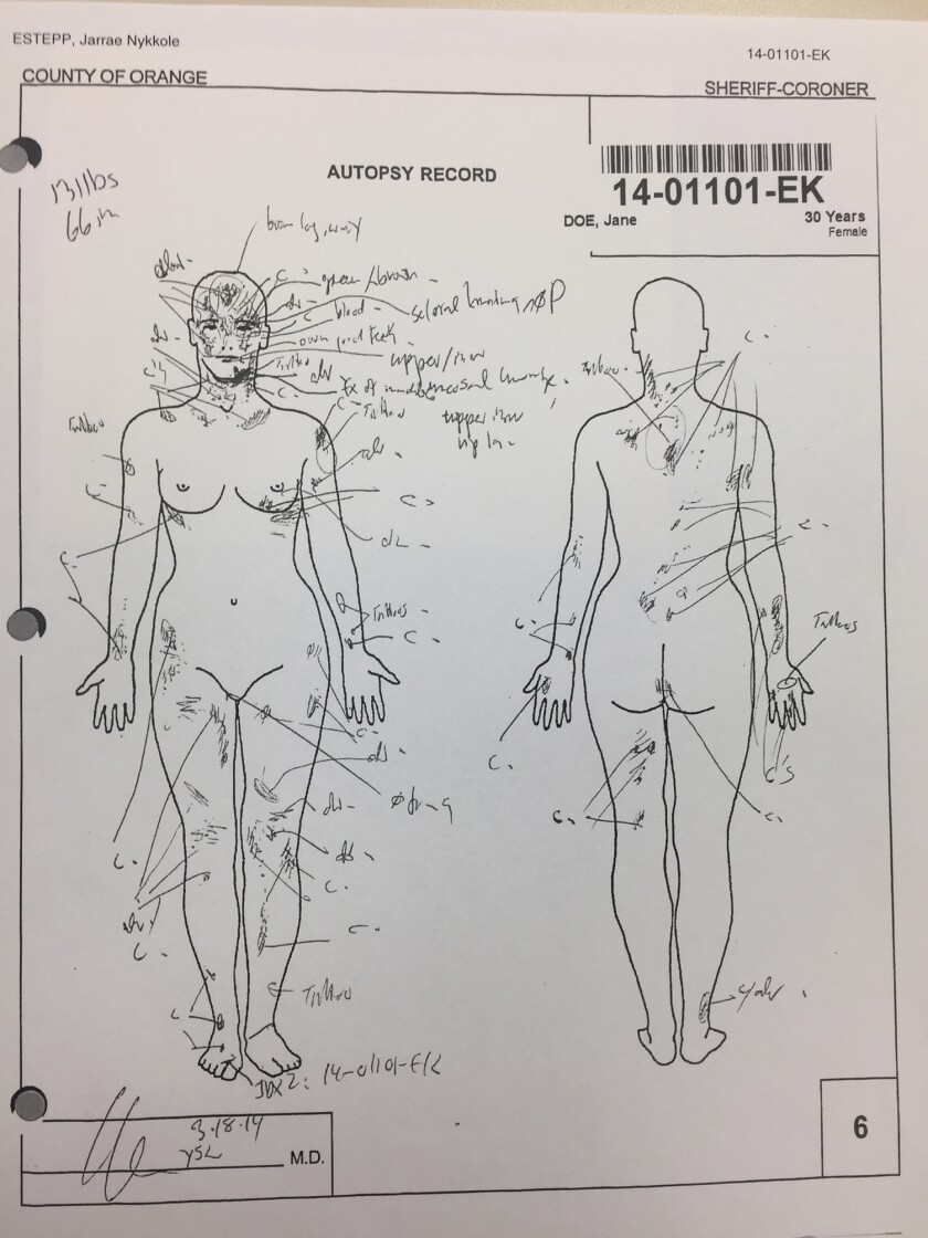 Jarrae Estepp's autopsy