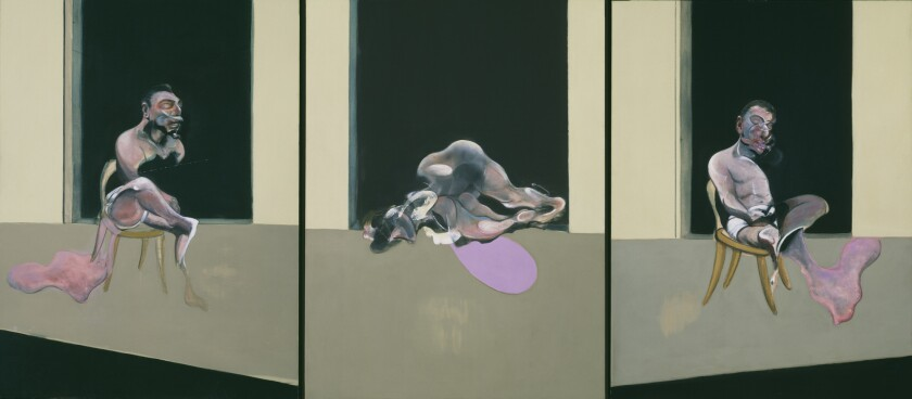 """Francis Bacon's """"Triptych August 1972"""" shows disquieting figures trapped within flat, blank, geometric voids and caged in a wide, golden frame, a Bacon signature."""