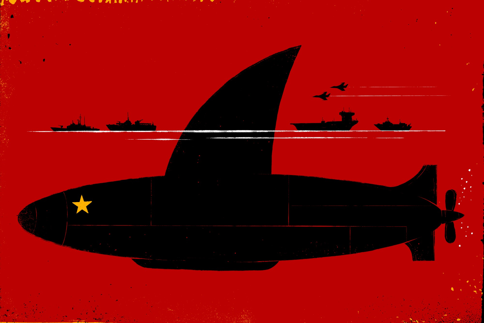 Illustration of a submarine with a yellow star and a large shark fin on a red background with warships and planes