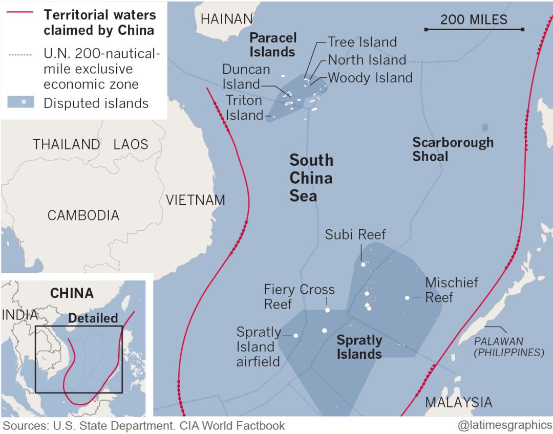 Karte der umstrittenen Gebiete im Südchinesischen Meer