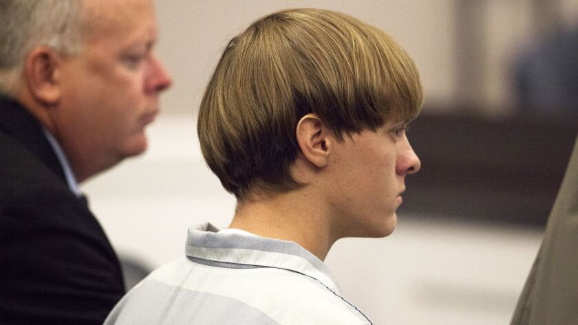 Dylann Roof attends a hearing at the Judicial Center in Charleston.
