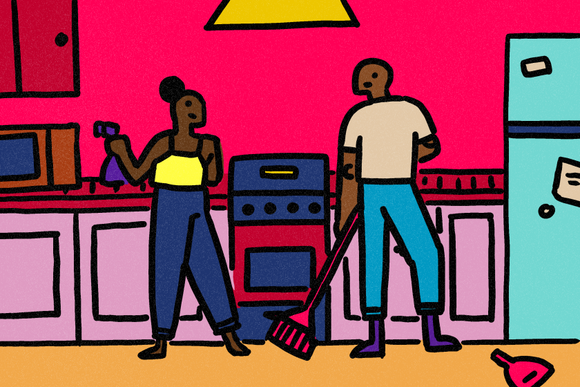 An illustration shows two people cleaning a kitchen.