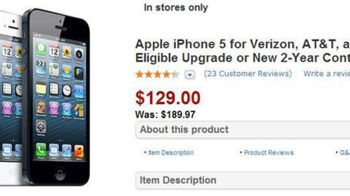 Wal Mart At T Best Buy Slashing Iphone 5 Price Los Angeles Times