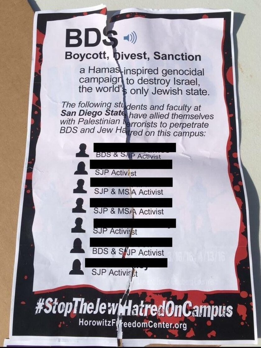 Fliers were posted on campus at San Diego State University a few weeks ago, identifying some students as allies of terrorists against Israel. Students protested Wednesday against President Elliot Hirshman's response to the fliers.