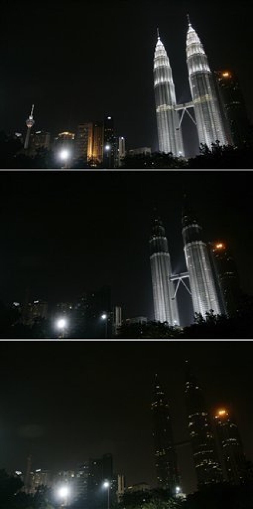 These three combo photos show Malaysia's landmark Petronas Twin Towers, right, along with other buildings in downtown Kuala Lumpur, Malaysia, having their lights turned off to mark Earth Hour Saturday. (AP Photo/Lai Seng Sin)