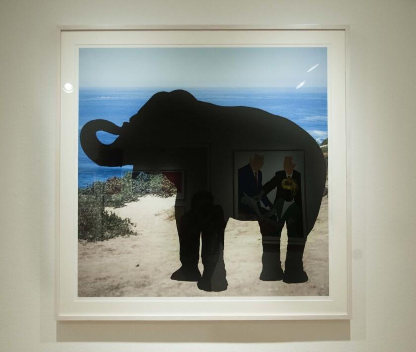 """Animal (Black) at Ocean: Tranquil,"" by John Baldessari, a digital print on exhibit at the Laguna Art Museum."