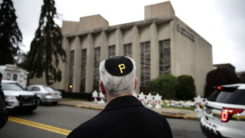 Rabbi Jeffrey Myers of the Tree of Life Synagogue wears at yarmulke with a Pittsburgh Pirates logo.