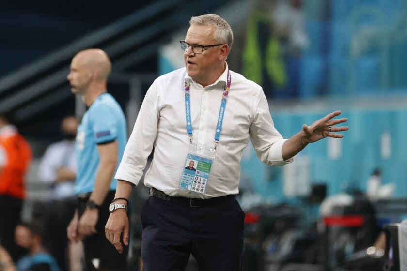Sweden's manager Janne Andersson gestures during the Euro 2020 soccer championship group D match between Sweden and Poland, at the St. Petersburg stadium in St. Petersburg, Russia, Wednesday, June 23, 2021. (AP Photo/Anatoly Maltsev, Pool)