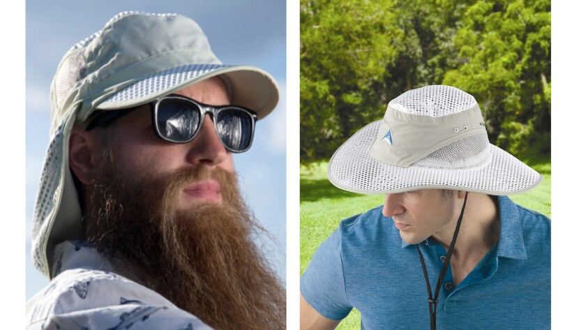 The new NASA Strength Desert Sun Cap, left, and Sun Hat with neck strap.