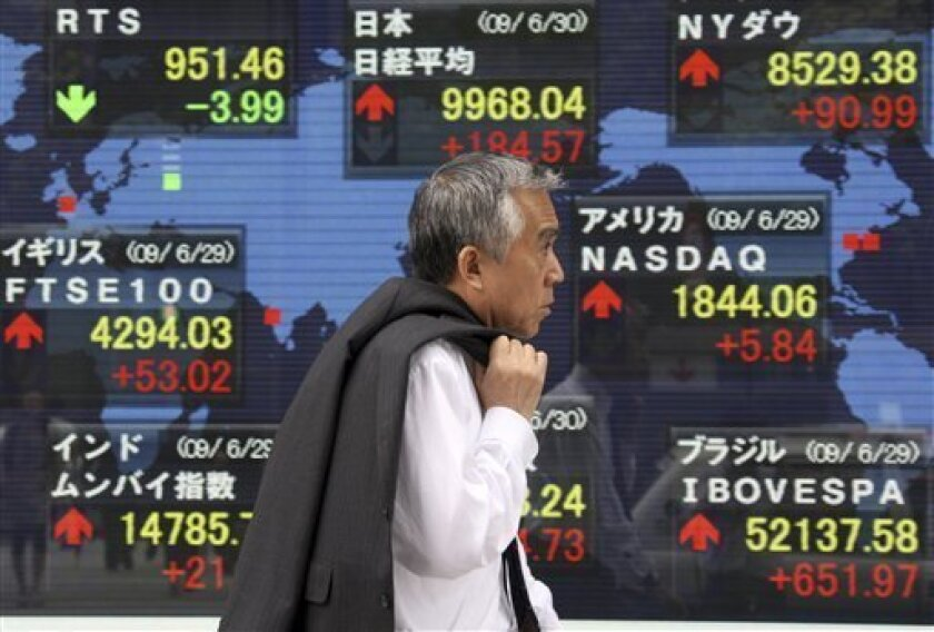 A man walks past the electronic board of a securities firm indicating the stock prices in the world in Tokyo Tuesday, June 30, 2009. Japan's benchmark Nikkei 225 stock average briefly surpassed 10,000-point level for the first time in over two weeks in the morning session. (AP Photo/Koji Sasahara)
