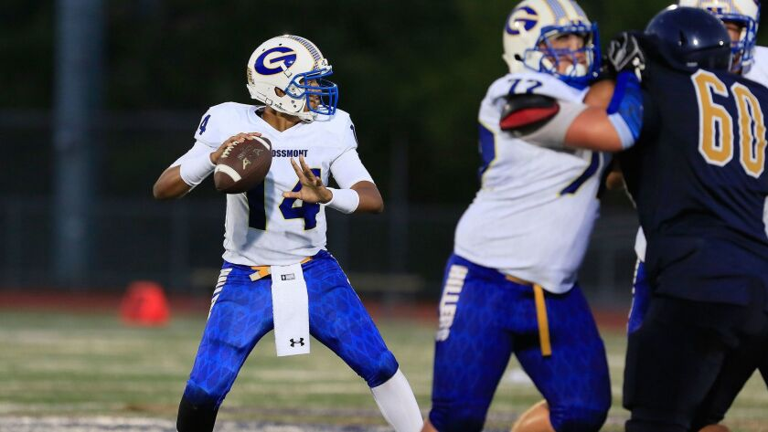 Grossmont quarterback Hunter Gaines was 19 of 26 for 328 yards and three TDs.